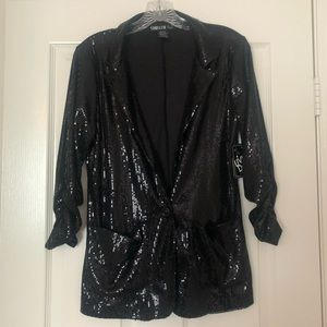 NWT tiny blk sequin blazer with open pockets M